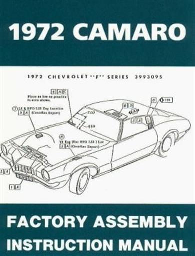 1972 camaro wiring diagram free camaro 1972 assembly manual 72 | ebay