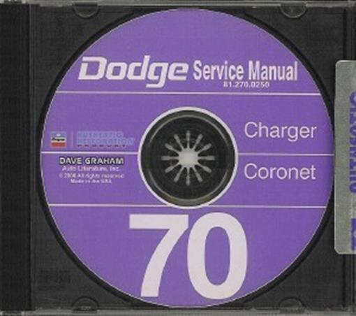 Dodge 1970 Charger  Coronet  Super Bee Shop Manual Cd 70
