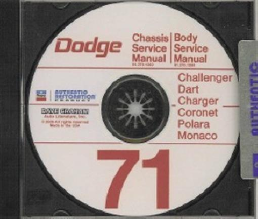 Dodge 1971 Challenger  Dart  Demon  Charger Shop Manual Cd