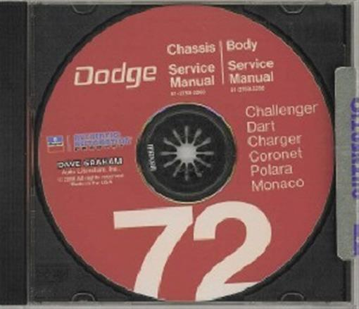 Dodge 1972 Challenger  Dart  Charger Shop Manual Cd 72