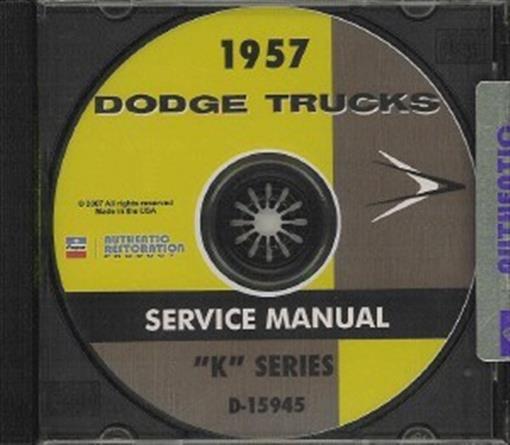 dodge 1957 pick up  power wagon  u0026 truck shop manual cd