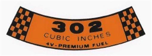 Ford 1968 Amp 1969 302 4v Premium Fuel Air Cleaner Decal Ebay