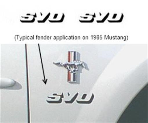 """1984 86 Ford Mustang Svo: Ford 1984-86 Mustang """"SVO"""" Fender & Deck Lid Decal, Black"""