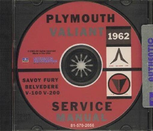 Plymouth 1962 Fury  Valiant  Belvedere Shop Manual Cd 62