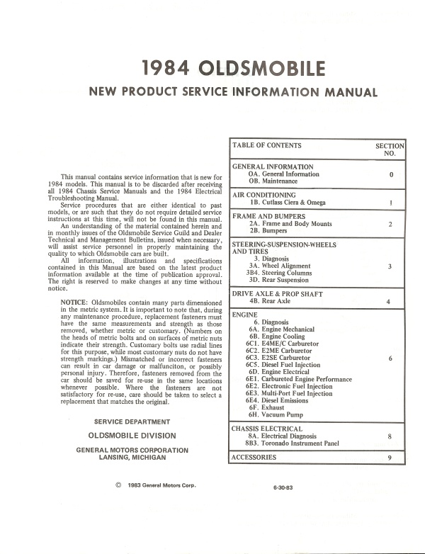 1984 oldsmobile cutl wiring diagram  1984  free engine image for user manual download