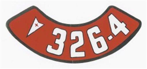 Pontiac 326 4v Air Cleaner Decal Red Amp White On Silver Ebay