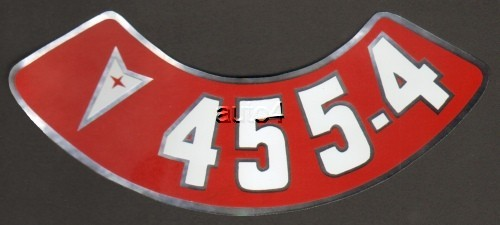 Pontiac 455 4v Air Cleaner Decal Red Amp White On Silver