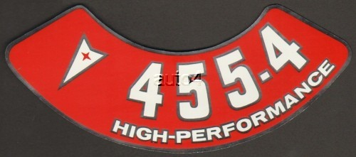 Pontiac 455 4v High Performance Air Cleaner Decal Red