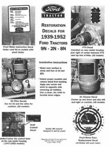Ford Tractor 8n 9n 2n Restoration Decal Set 1939 1952 Ebay