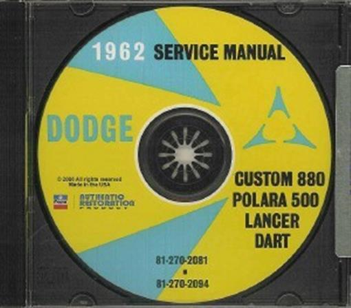 Dodge 1962 Lancer  Dart  Polara Car Shop Manual Cd  U0026 39 62
