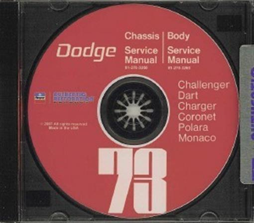 Dodge 1973 Challenger  Dart  Charger Shop Manual Cd 73
