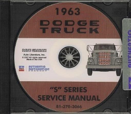 Dodge 1963 Pick Up Amp Truck Shop Manual Cd 63 Ebay