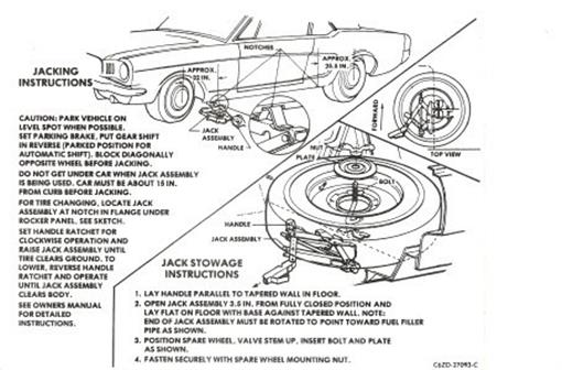 ford 1966 mustang jacking instructions decal