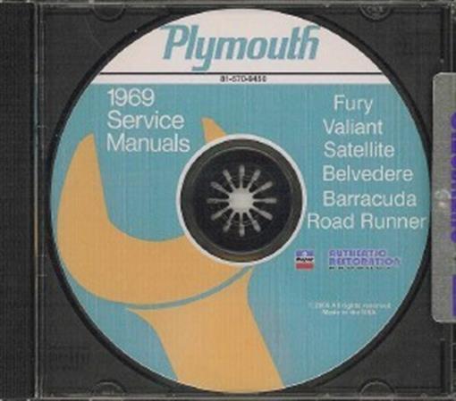 Plymouth 1969 Barracuda  Valiant  Fury  Belvedere  U0026 Satellite Shop Manual Cd