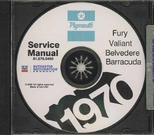 Details About PLYMOUTH 1970 Road Runner Duster Barracuda Fury Satellite Shop Manual CD