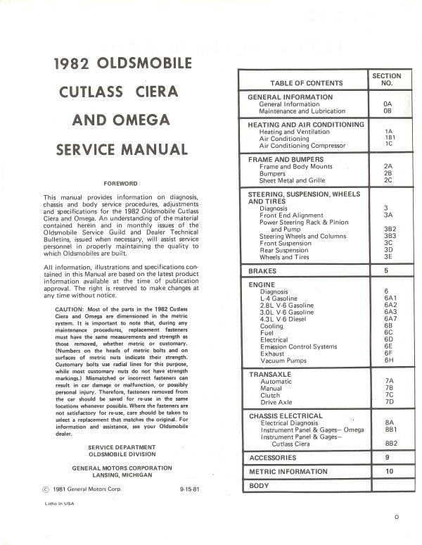Oldsmobile 1982 Omega  U0026 Cutlass Ciera Service Manual