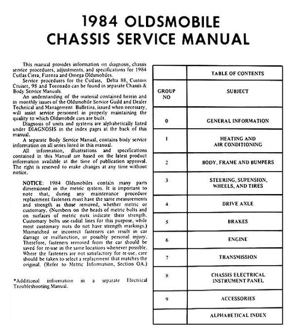 Oldsmobile 1984 Omega Cutlass Ciera Firenza Shop Manual