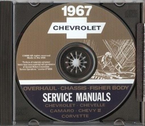 Chevrolet 1967 Caprice Impala Bel Air Biscayne Amp Corvette Shop Manual Cd Ebay