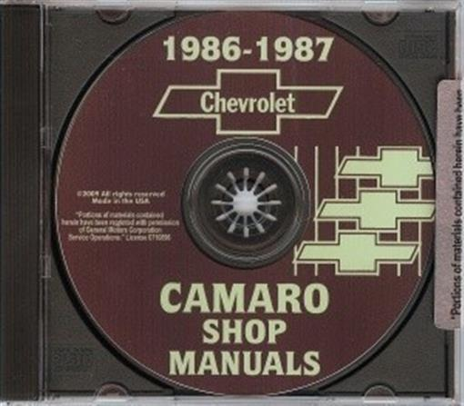 Chevrolet 1986  U0026 1987 Camaro Shop Manual Cd